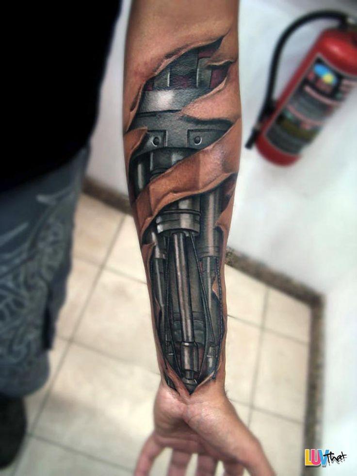 metal bionic arm under skin tattoo