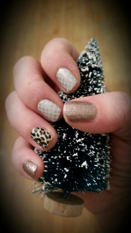 Jamberry Nail Wraps First Frost, natural leopard, and rose gold sparkle