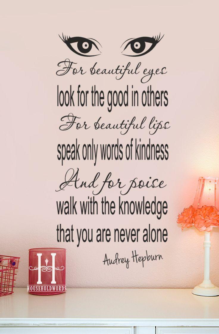 Audrey Hepburn Wall Decals | Audrey Hepburn Quote decor Vinyl Wall Decal For beautiful eyes look ...