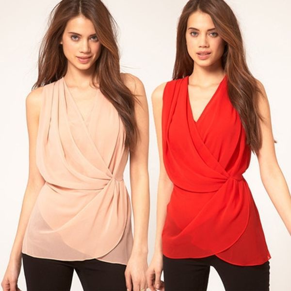 Fashion Women's Cross Winding Stacked Waist Chiffon Shirt Tops Blouse