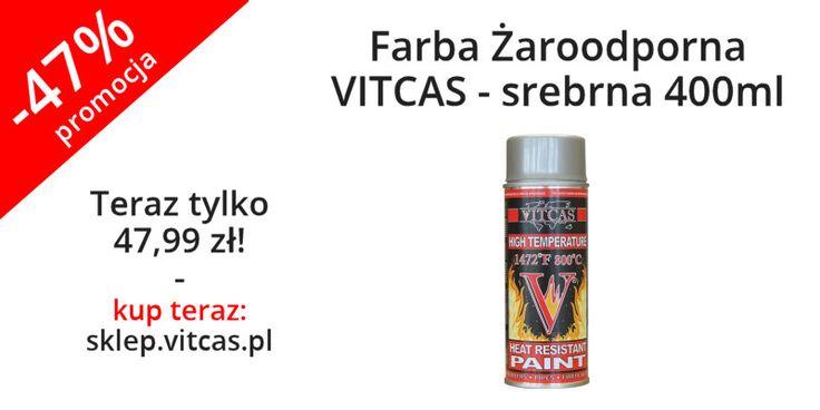 Farba Żaroodporna VITCAS srebrna 400ml teraz niemal o połowę tańsza. Zapraszamy do zakupów: http://sklep.vitcas.pl/pl/p/Farba-Zaroodporna-VITCAS-srebrna-400ml/90