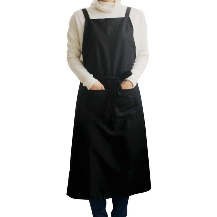 New Unisex Apron Solid Color Long Bib Dress Ceramic Art Studio Working Uniform