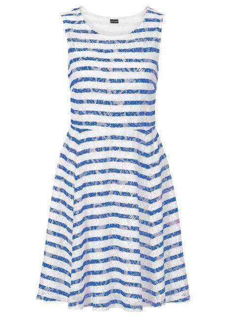 Vestido de renda azul sem mangas com decote redondo