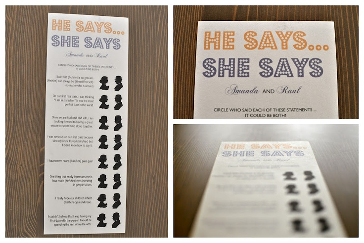 templates for bridal shower games - he says she says shower game template bridal shower