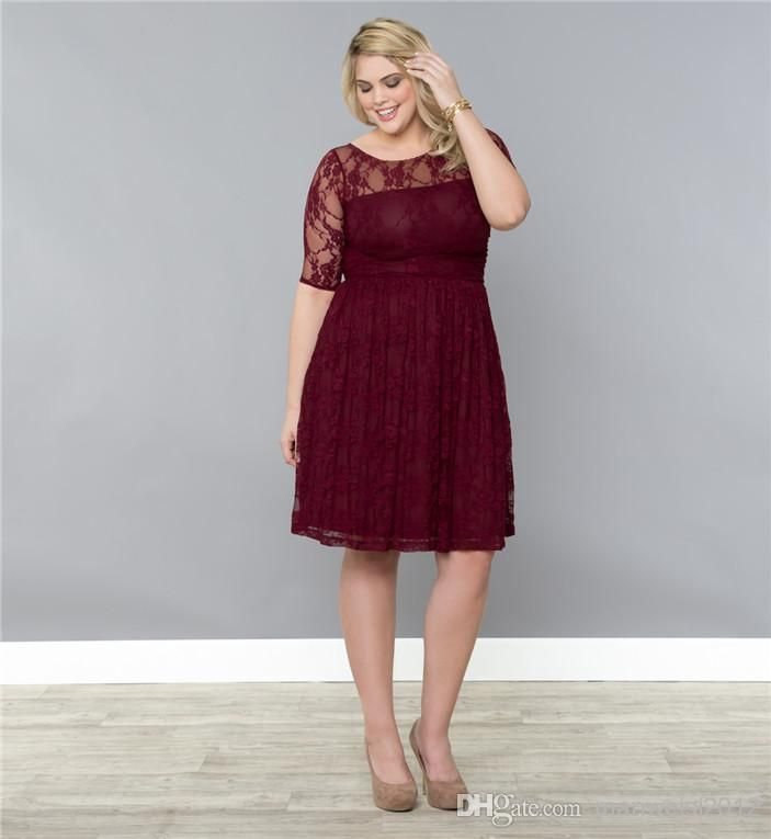 In Champagne: Wholesale Plus Size Dress - Buy Wonderful Attractive Lace Plus Size A-Line Crew Neckline Half Sleeves Knee-Length Prom Gown Spring Bridesmaid Dress, $133.27 | DHgate