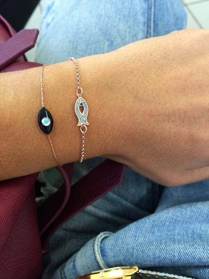 Personalized Rose Gold Bracelets, Black Evil Eye Bracelet, Fish Bracelet, Tiny Bracelets, Gold-Pink Bracelets, Plated Silver 925.