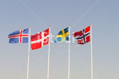 Scandinavian Flags Royalty Free Stock Photo