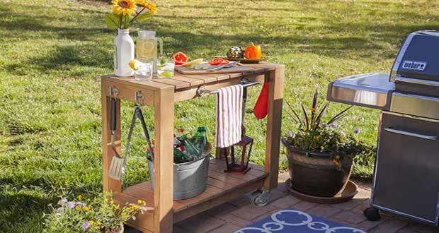Une desserte de jardin, le meuble indispensable près du barbecue ou de la table de jardin. Voici comment faire une desserte de jardin en bois avec roulettes à déplacer dans le jardin