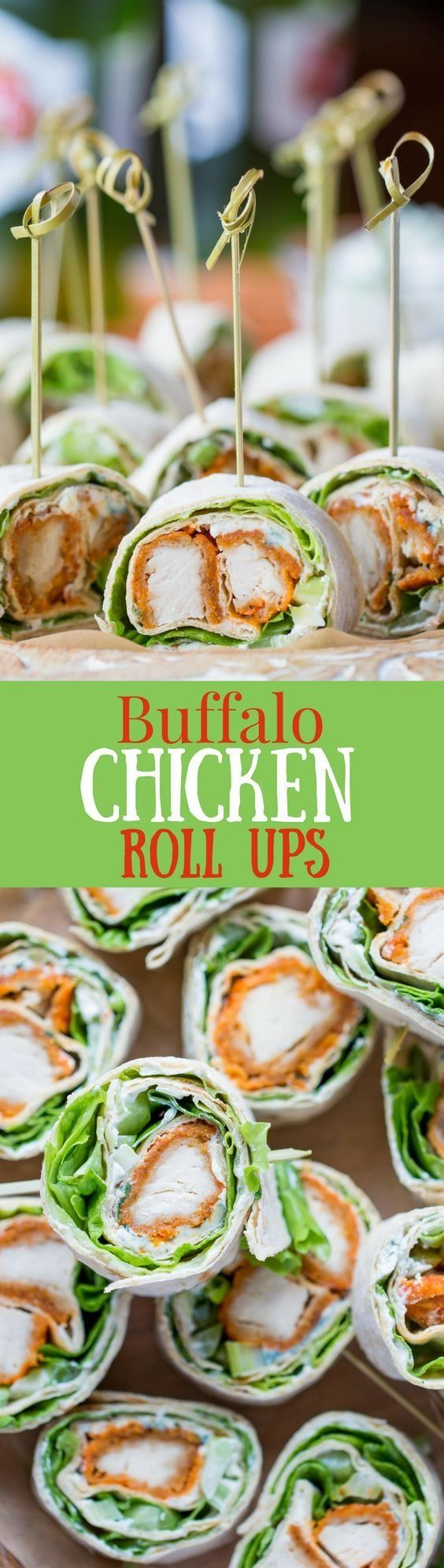 Buffalo chicken roll ups are a delicious appetizer.