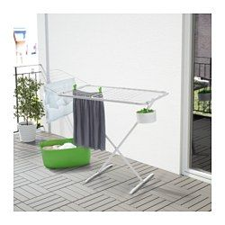 IKEA - MULIG, Wäschetrockner, innen/außen, weiß,  , , Für drinnen und draußen geeignet.Zwei ausklappbare Seiten bieten noch mehr Platz für Wäsche.Lässt sich nach Gebrauch Platz sparend zusammenklappen.