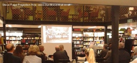 Projector and screen hire for a book launch in Waterstones, Dundee - by Steve Page Lighting and Projector Hire: www.dundeecentral.co.uk