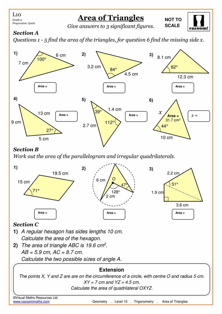 Area of Triangles Maths Worksheet Trigonometry