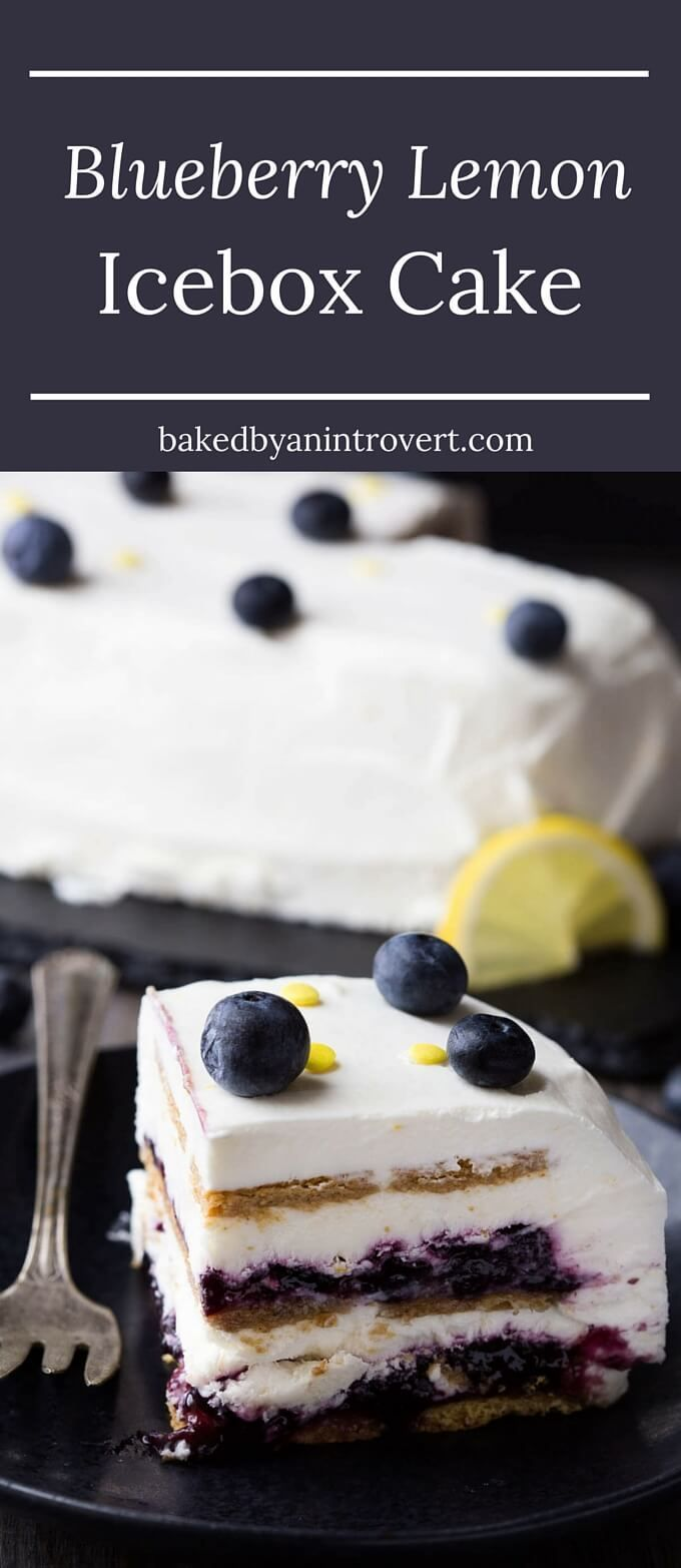 One taste of this Blueberry Lemon Icebox Cake and you simply won't believe how simple it was to make. Swirls of blueberry jam sandwiched between layers of lemon whipped cream and graham crackers, this summer dessert is heavenly.