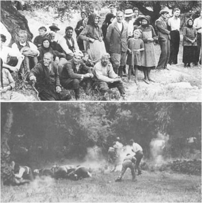 Upper photo: Villagers of Kondomari, Crete witnessing an execution. The Fallschirmjägger executed in groups of eight at each time.  Down photo: Kondomarians being fired at.