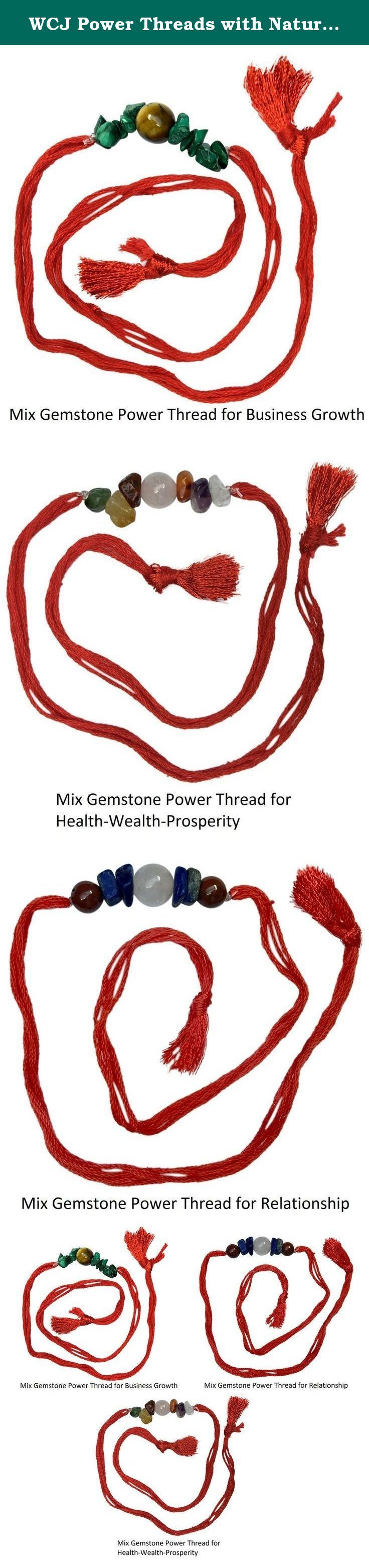 WCJ Power Threads with Natural Gemstones - Set of 3 pcs (As shown in picture) for Business Growth, Health-Wealth-Prosperity & Enduring Relationship. Power Threads/ Rakhi with Healing Benefits. Best Gift for Loved Ones. Natural Gemstone Power Threads for Business, Health-Wealth-Properity & Relations. Set of Three Rakhi, Natural Stones With Red Color Thread, Raksha Bandhan Gift for your Brother.