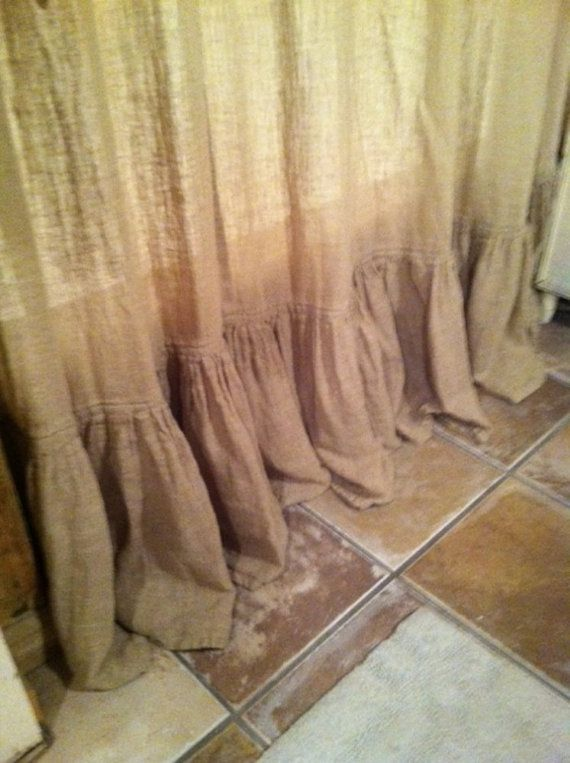 Shower Curtain in Washed LinenPleated Shower by cottageandcabin......make super ruffle on curtains like this