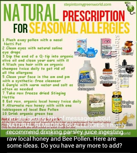 Natural allergy relief. Best part is most of these are easy, cost little, and most have been recommended by my allergists.