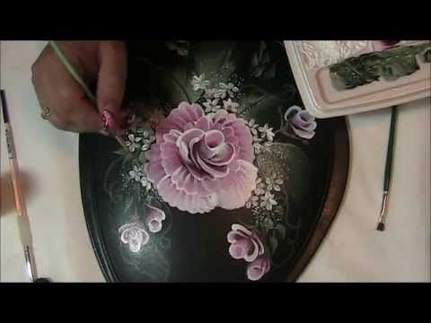 ▶ another one stroke rose design with enamel paint - YouTube