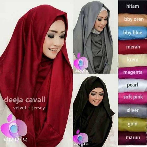 Hijab Instan Hoodie Deeja Cavali Model Terbaru 2017 ciput dan luaran menyatu, kombinasi bahan velvet dan jersey, cocok digunakan untuk acara formal maupun