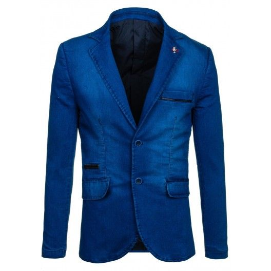 Sýto modré pánske sako s čiernym pásom na vreckách - fashionday.eu