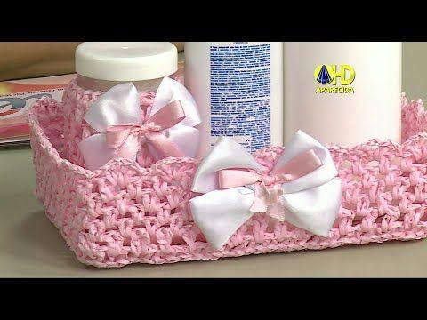 Trapillo: cesta rectangular a crochet (diestro) - YouTube