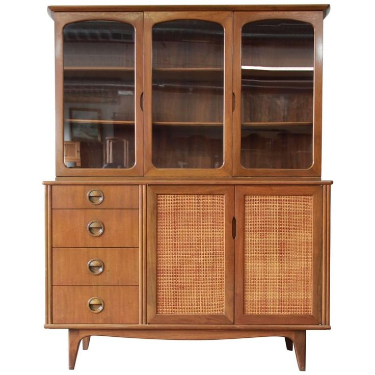 Mid-Century Modern Woven Front Dining Cabinet by Landstrom 1