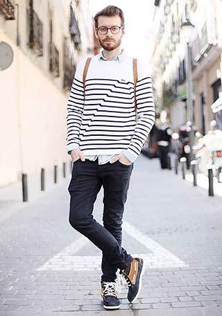 バスクボーダーTシャツの着こなし(メンズ) | Italy Web