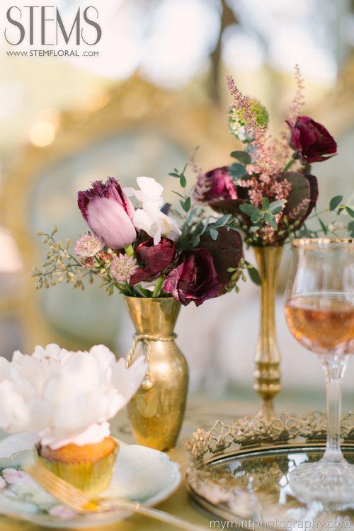 Venue: Ma Maison  Photography: Mint Photography  Designers: Pink Parasol Designs and Bee Lavish  Desserts: Love Birds Sweets  Dresses: Blush Bridal Lounge  Hair and Make-up: Mayhem Beauty  STEMS Flowers: peonies, fringed tulips, astrantia, dahlias, sweet pea,  eucalyptus, ranunculus, as