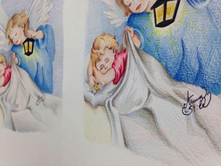 Angeli. Quadretti dipinti a pastello su cartoncino satinato. Anna Stile Jewels