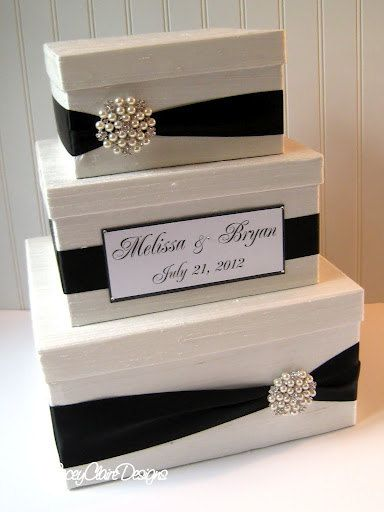 Wedding Card Box - Custom | Lacey Clair Designs etsy.com | Very similar to what I made, classic & stylish.