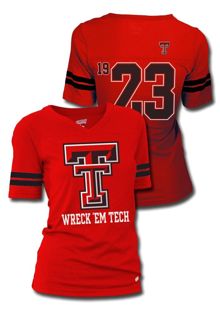 Texas Tech Red Raiders T-Shirt- Junior Women's Red Sport V-Neck