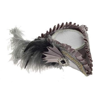 Steampunk Tricorn Hat - Mini Fascinator Pirate Hat - Grey