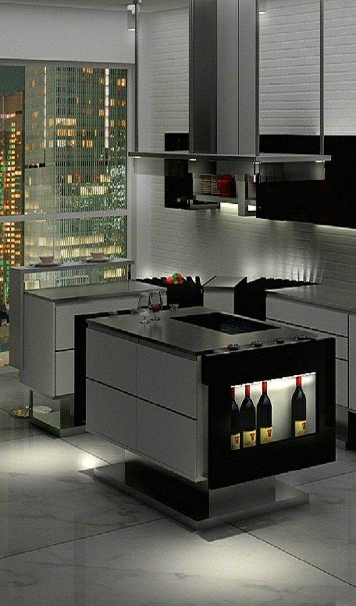 design moderne ilot cuisine stylise