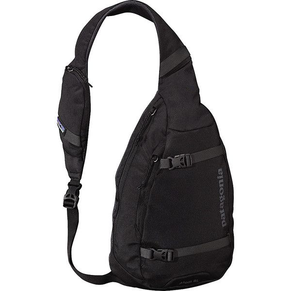 Patagonia Atom Sling Sling ($49) ❤ liked on Polyvore featuring bags, backpacks, black, slings, black backpack, woven backpack, black messenger bag, mesh sling backpack and single strap backpack