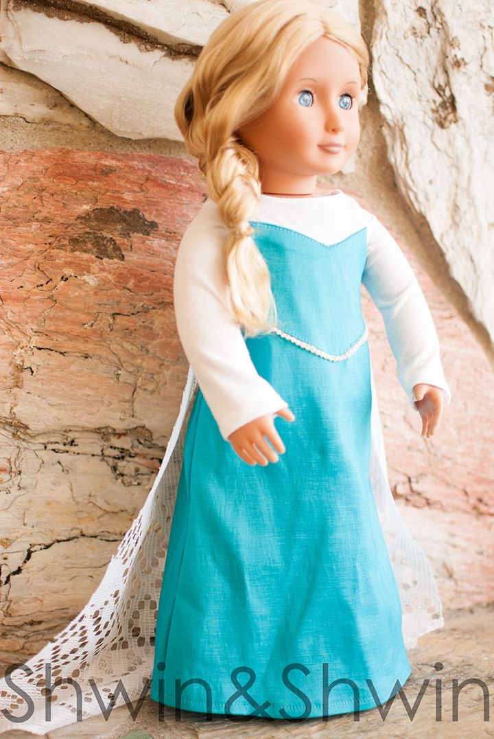 "Doll dress pattern inspired by Elsa from Frozen.  For an 18"" doll.  For instructions please visit:  http://shwinandshwin.com/2015/04/elsa-inspired-doll-dress-pattern.html"
