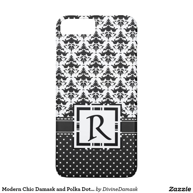Modern Chic Damask and Polka Dots Black and White iPhone 7 Plus Case