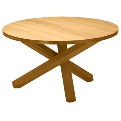 Table de salle manger ronde en bois massif triple pieds for Table qui se deplie