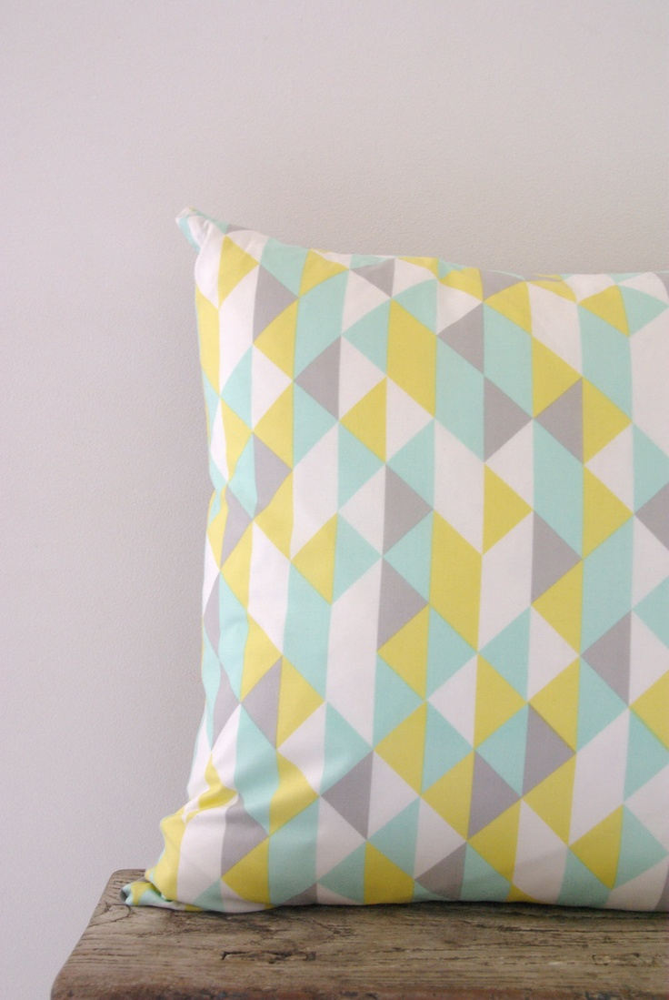 Cushion Cover Pastel Geometric Triangle Print Organic
