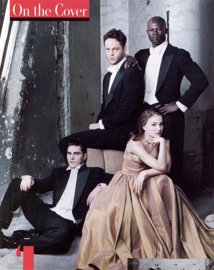 Joaquin Phoenix, Vince Vaughn, Natalie Portman and Djimon Hounsou photographed by Annie Leibovitz for Vanity Fair, April 1998