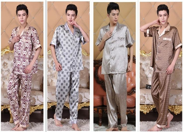 Find More   Information about 2015 Summer cartoon pajamas for men  hot  sale Quality Nobility mens pajamas sleepwear Short Sleeve men silk pajamas Sets,High Quality  ,China   Suppliers, Cheap   from Wendy_house on Aliexpress.com