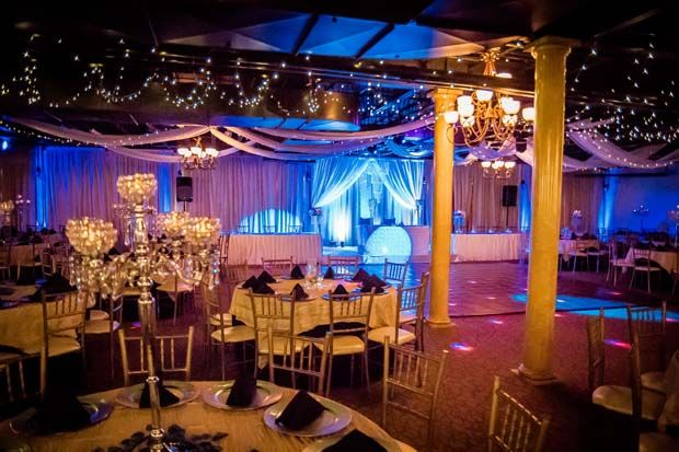 Stunning uplighting, tiny white lights, elegant candle centerpieces at wedding reception at Jupiter Gardens Event Center in Dallas