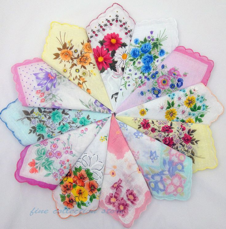 Vintage Floral Cotton Hankerchiefs    I have some of these!  Good idea!