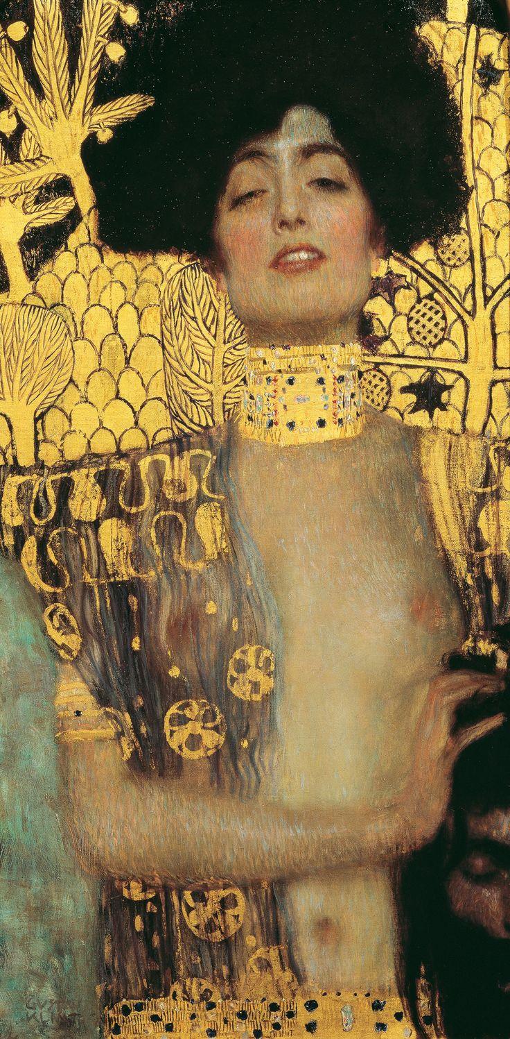 """Gustav Klimt, Giuditta, 1901.     """"Quale amante non ha mai provato questo inesprimibile gaudio, in cui par quasi che la potenza sensitiva del tatto si affini così da avere la sensazione senza la immediata materialità del contatto? """"    Gabriele d'Annunzio, Il Piacere."""