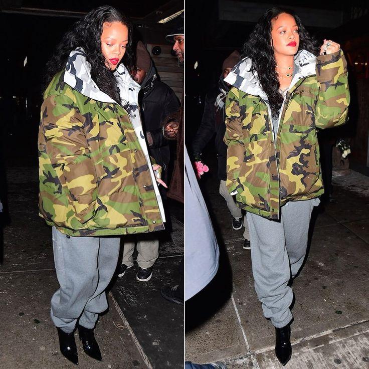Rihanna Fenty Puma lacing fleece jumpsuit, Vetements Canada Goose reversible camo jacket, Balenciaga broken heel patent leather ankle boots, Jacquie Aiche cameo ring
