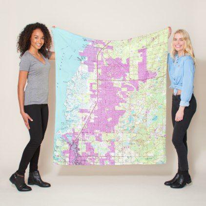 Port Richey Florida Map.Port Richey New Port Richey Florida Map 1954 Fleece Blanket