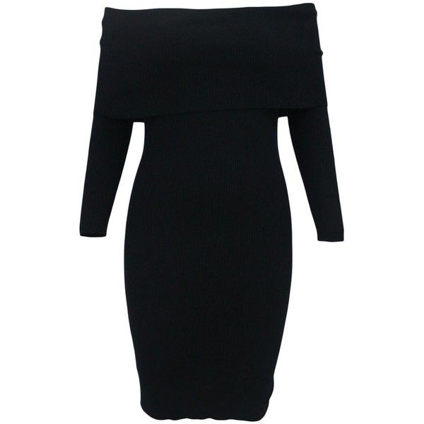 robes pull tricot mini noir manches longues epaules denudees femme