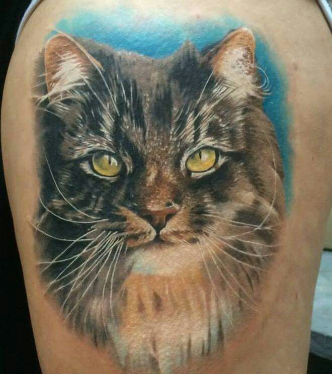 I love cats, this is such a cute tattoo! And so realistic!