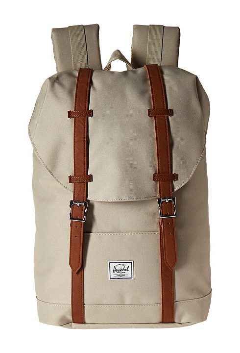 Herschel Supply Co. Retreat Mid-Volume (Pelican/Tan Synthetic Leather) Backpack Bags - Herschel Supply Co., Retreat Mid-Volume, 10329-01362-OS, Bags and Luggage Backpack, Backpack, Bag, Bags and Luggage, Gift, - Fashion Ideas To Inspire