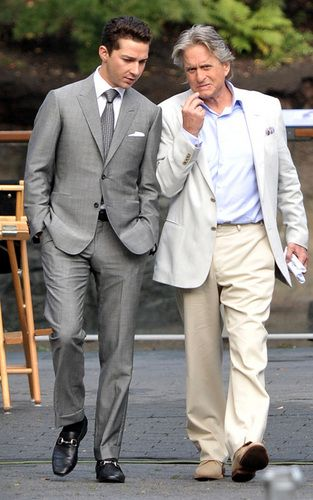 Michael Douglas and Shia LaBeouf seen filming Wall Street 2 with director Oliver Stone in Central Park's Zoo, Manhattan, New York City