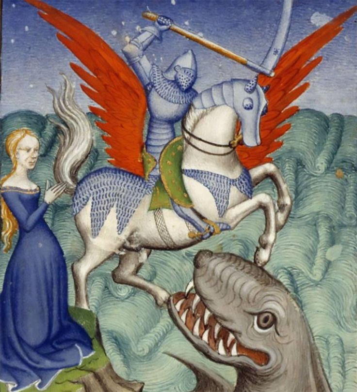 Andromeda being rescued from a monster by Perseus, riding on Pegasus; The Book of the Queen, c 1410-c 1414, Harley MS 4431, f. 98v, in 'L'Épître Othéa.' (Paris). The British Library.
